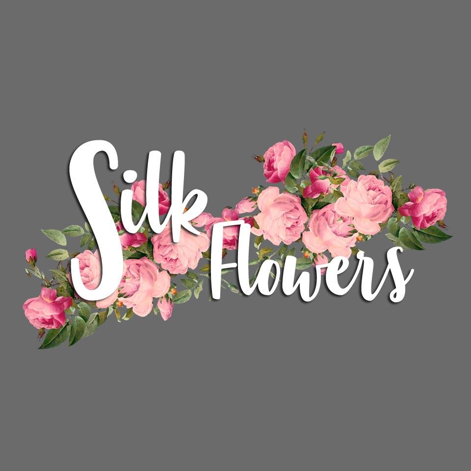 Silk Flowers logo on website homepage of roubarb gift shop in East Sussex
