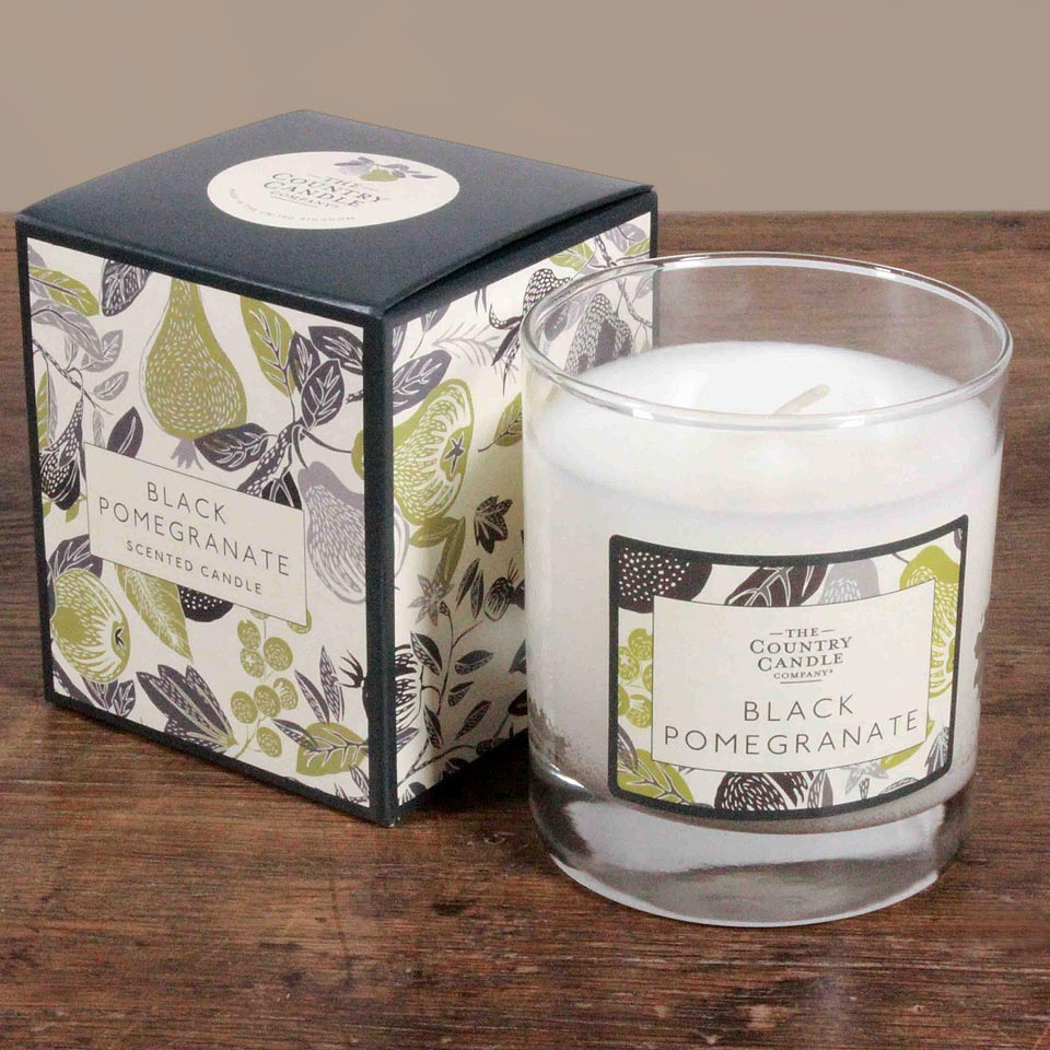 Country Candles Black Pomegranate image on website homepage of roubarb gift shop in East Sussex