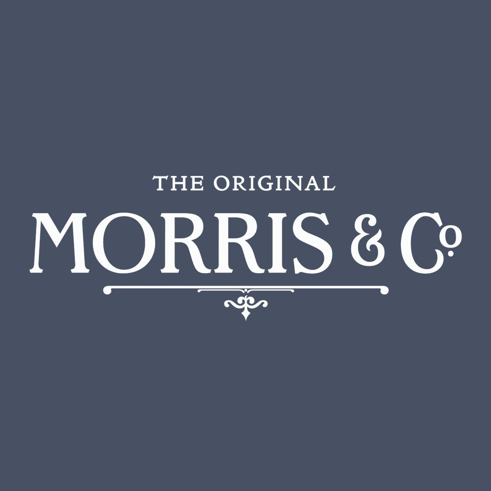 Morris & Co logo on website homepage of roubarb gift shop in East Sussex