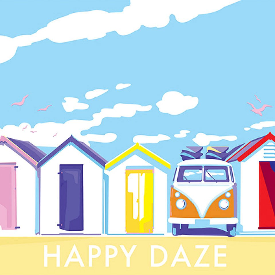 Becky Bettesworth Happy Daze image on website homepage of roubarb gift shop in East Sussex