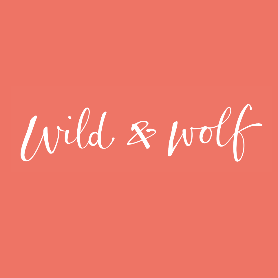 Wild & Wolf logo on website homepage of roubarb gift shop in East Sussex