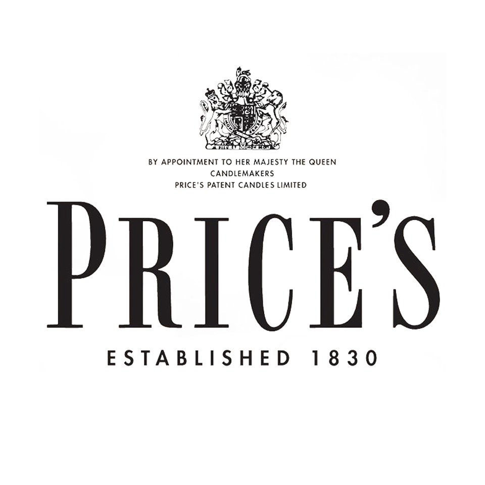 Prices Candles logo on website homepage of roubarb gift shop in East Sussex